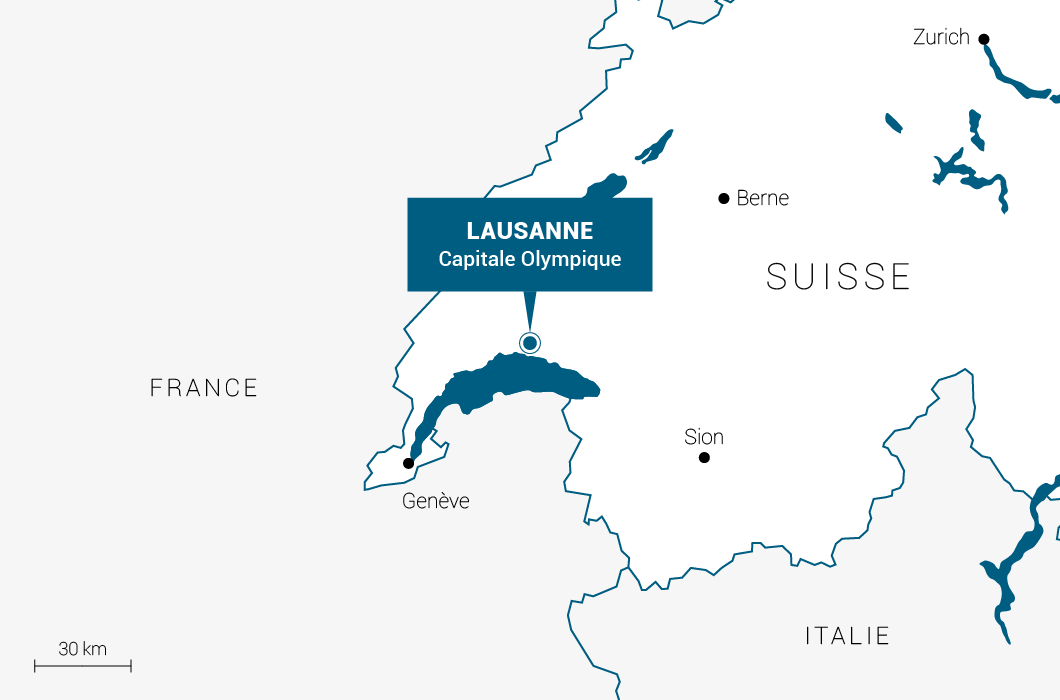 Carte de situation de Lausanne - Suisse